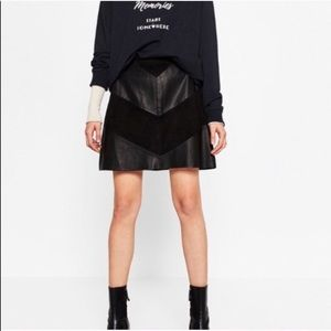 Zara Vegan Leather and Suede Skirt